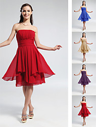 Knee-length Chiffon Bridesmaid Dress - Ruby / Grape / Royal Blue / Champagne Plus Sizes / Petite A-line / Princess Strapless
