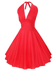 Women's Party/Cocktail Sexy Skater Dress,Solid Halter Above Knee Sleeveless Red / Black Summer
