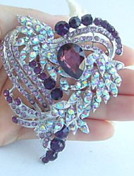 Wedding 3.15 Inch Silver-tone Purple Rhinestone Crystal Love Heart Brooch Art Deco