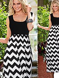 Women's Striped Black Dresses , Bodycon Straps Sleeveless
