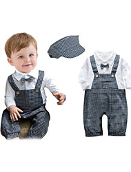 BHL Infant Boy's Cotton Plaid Gentlemen Romper Climbing Clothes Newborn Baby Boy Sleeve Baby suits  For 0~15Mouth