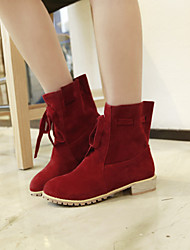 Women's Shoes Fleece Chunky Heel Fashion Boots/Round Toe Boots Dress/Casual Black/Red/Beige