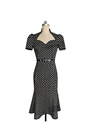 Vestidos ( Algodón )- Casual Redondo Manga Larga para Mujer