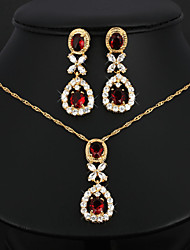 Bridal Jewelry Sets Necklace Earrings Set Teardrop-shaped Crystal Copper Suit