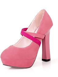Scarpe Donna Finta pelle Quadrato Punta arrotondata Scarpe col tacco Casual Nero/Blu/Rosa