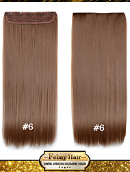 24 Inch 120g Long Light Brown (#6) Heat Resistant Synthetic Fiber Straight Clip In Hair Extensions with 5 Clips