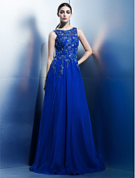 TS Couture® Formal Evening Dress A-line Scoop Floor-length Chiffon with Appliques