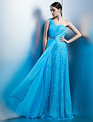TS Couture Formal Evening Dress - Elegant Sheath / Column One Shoulder Floor-length Chiffon Lace with Draping Lace