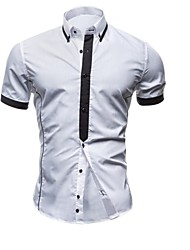 Men's Solid Casual / Work / Formal Shirt,Others Short Sleeve