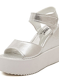 Zapatos de mujer - Plataforma - Plataforma - Sandalias - Casual - Semicuero - Blanco / Plata