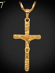 U7® Unisex Crucifix Pendant for Women Men 18K Real Gold/Platinum Plated Saint Cross Jesus Jewelry Cross Necklace