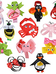 12 Pcs Animal Scilpture Grosgrain Ribbon Flower Combination Hair Clips Boutique Hairbows Allige Hair Clip Handwear AC032