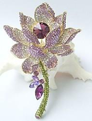 Gorgeous 4.13 Inch Gold-tone Purple Rhinestone Crystal Water Lily Brooch Art Deco