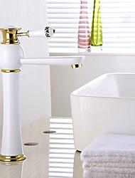 bronze pintura contemporânea única alça de alta banheiro lavatório torneira da pia quente e fria