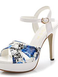 Women's Shoes  Stiletto Heel Peep Toe Sandals Casual Blue/White
