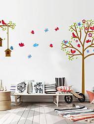 stickers muraux nid de mur de PVC les autocollants de style de décalques de mur arbre dessin animé oiseaux