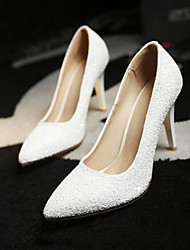 Women's Shoes Glitter Stiletto Heel Heels/Pointed Toe Pumps/Heels Wedding/Dress White/Gold