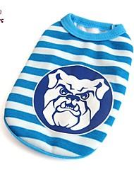 Katzen Hunde T-shirt Blau Hundekleidung Sommer Streifen Lässig/Alltäglich