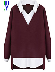 Damen Einfarbig Einfach Lässig/Alltäglich T-shirt,Hemdkragen Herbst Langarm Rot / Grau Dünn