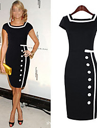 Women's Patchwork Blue / Black Dresses , Bodycon Square Short Sleeve
