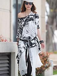 Women's Asymmetrical Blouse , Cotton Long Sleeve