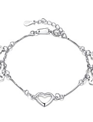 Summer Jewelry Chain/Beaded/Cuff/Charms Bracelet 925 Sterling Silver  Love Heart Bangles for Women Fine jewelry