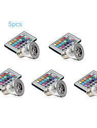 5pcs MORSEN® E27 3W RGB Color Light without Remote Control RGB Lamp(AC85~265V)