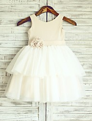 Princess Knee-length Flower Girl Dress - Linen / Tulle Sleeveless Scoop with