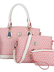 Women PU Formal / Casual / Office & Career / Shopping Tote / Bag Sets White / Pink / Blue / Black