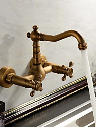 Antique Inspired Bathroom Sink Faucet Wall Mount Solid Brass Two Holes and Handles Bathtub Mixer