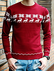 Men's Pullover , Cotton Blend Long Sleeve