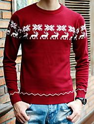 Men's Pullover , Cotton Blend Long Sleeve