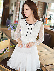 Pink Doll®Women's Round Neck Casual Party Lace Bow Puff Sleeve A-line Dress