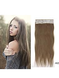 """18 """"-30"""" brasileño piel pegamento pelo trama virginal extensión del pelo cinta de 2,5 g / pc en la extensión del pelo de visón extensión"""