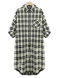 Women's Check Black Shirt , Shirt Collar Long Sleeve