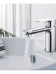 robinets de bassin en laiton seul trou salle de bains robinet mélangeur d'eau chaude et froide sous pression