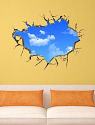 3D-Wandaufkleber Wandtattoos Stil blauen Himmel und weißen Wolken PVC-Wandaufkleber