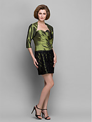 Sheath/Column Mother of the Bride Dress - Clover Short/Mini 3/4 Length Sleeve Lace / Taffeta