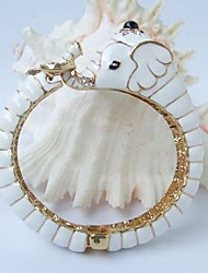 Lovely White Elephant Bracelet Bangle Cuff With Clear Rhinestone Crystals