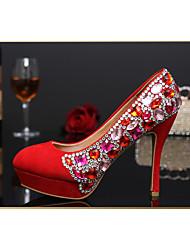 Women's Shoes Leather/Glitter Stiletto Heel Heels/Round Toe Pumps/Heels Wedding/Party & Evening/Dress WhiteTXF-SHOES0007