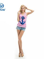 CANIS@Women's Sequins Cotton Blends Sleeveless T-shirt