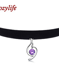 "Cozylife 3/8"" Womens Girls Black Velvet Gothic Collar Vintage Choker Necklace with S925 Sliver and CZ Diamond Pendant"