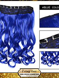 alta temperatura de resistencia de 24 pulgadas de extensión peluca 5 clip de 16 colores disponibles azul