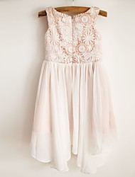 A-line Knee-length Flower Girl Dress - Chiffon / Lace / Satin Sleeveless Scoop with