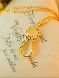 Korean Fashion Opal Cat Pendant Necklace Cute/Casual Gemstone & Crystal Pendant Necklace