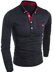 Herren T-shirt-Einfarbig Freizeit Baumwolle Lang-Schwarz / Blau / Weiß