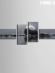 E-HOME® Big Rocks on The Water Clock in Canvas 4pcs