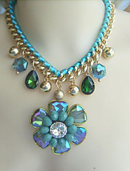 Fashion Austrian Crystal Flower Statement Necklace, Bubble bib Necklace, Beadwork Necklace,