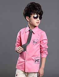 Boy's Letter Print False Tie Long Sleeve Shirt