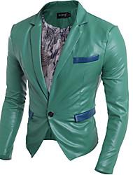 Mens Fashion Multi Pocket PU Leather Slim  Jacket
